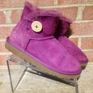 UGG Mini Bailey Button Womens Winter Boots Pink 7